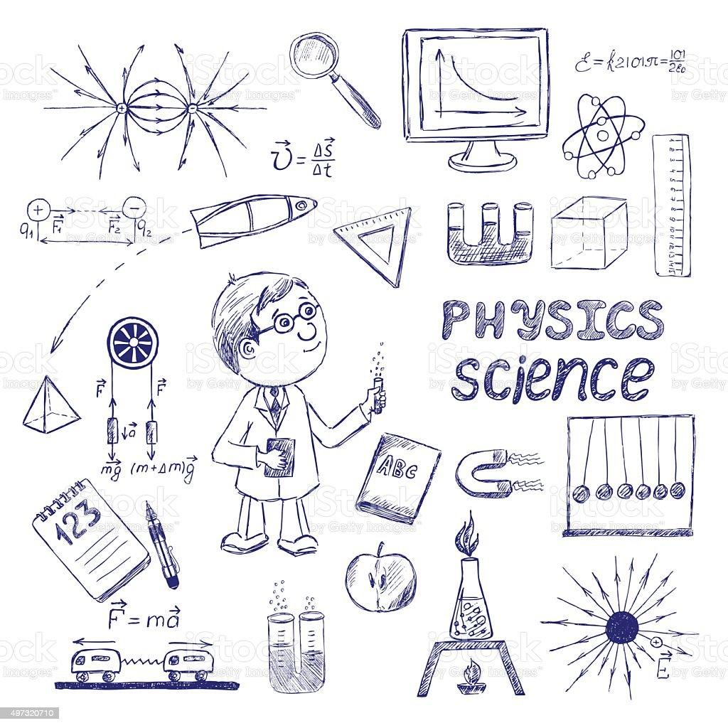 Science Physics From: Physics Science Hand Drawing School Items Stock