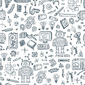 Physics. Science seamless pattern. Hand drawn doodles Robot, Measuring equipment, instrumentation and elements
