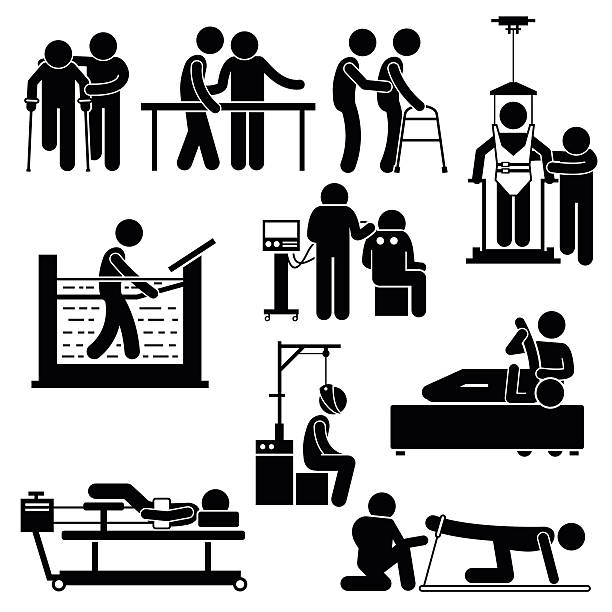 Physio Physiotherapy and Rehabilitation Treatment Stick Figure Pictogram Icons A set of human pictogram representing physiotherapy treatment for patient by the help of physiotherapy. These treatments include hydro, electro, traction, and massage. All essential equipment, machines, and tools are available too. physical therapy stock illustrations