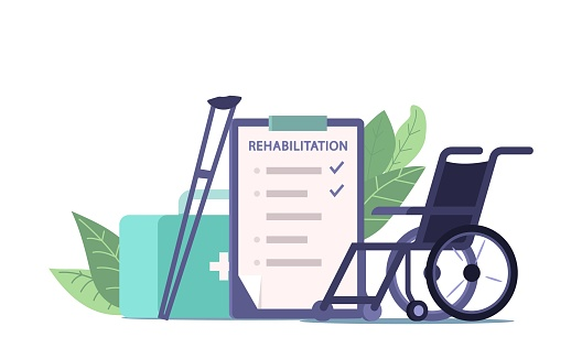 Physiotherapy and Medical Rehabilitation Equipment and Prescription, Wheelchair, Crutches, List with Rehab Procedures