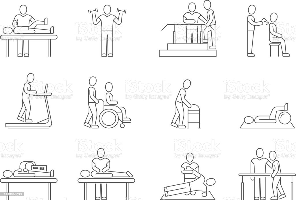 Physiotherapy and rehabilitation, exercises and massage therapy vector line medical icons vector art illustration