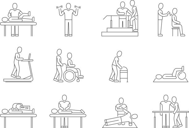 Physiotherapy and rehabilitation, exercises and massage therapy vector line medical icons Physiotherapy and rehabilitation, exercises and massage therapy vector line medical icons. Medical patient, physical therapy exercise illustration physical therapy stock illustrations