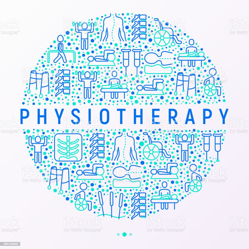 Physiotherapy concept in circle with thin line icons: rehabilitation, physiotherapist, acupuncture, massage, gymnastics, go-carts, vertebrae; x-ray, crutches, wheelchair. Vector illustration, web page template. royalty-free physiotherapy concept in circle with thin line icons rehabilitation physiotherapist acupuncture massage gymnastics gocarts vertebrae xray crutches wheelchair vector illustration web page template stock vector art & more images of acupuncture