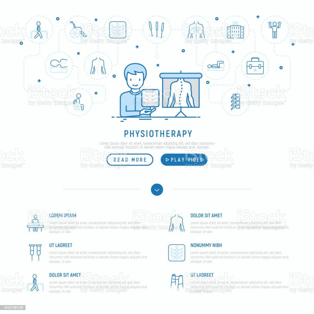 Ilustración de Concepto De Fisioterapia Con Los Iconos De La Delgada ...