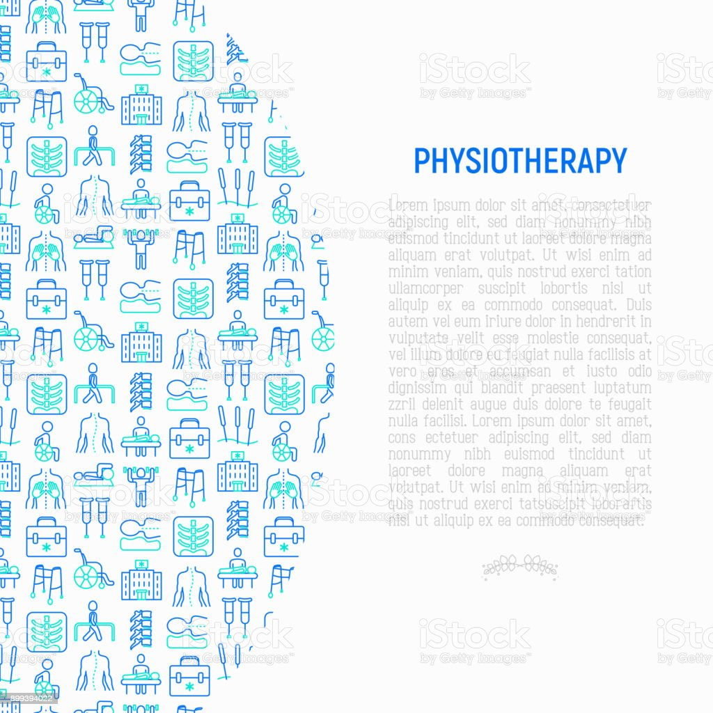 Physiotherapy concept with thin line icons: rehabilitation, physiotherapist, acupuncture, massage, gymnastics, go-carts, vertebrae; x-ray, trauma, crutches, wheelchair. Vector illustration. vector art illustration