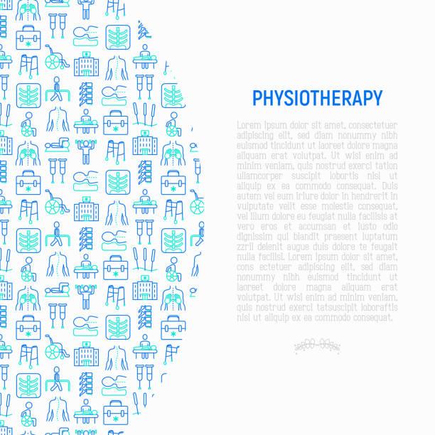 illustrazioni stock, clip art, cartoni animati e icone di tendenza di physiotherapy concept with thin line icons: rehabilitation, physiotherapist, acupuncture, massage, gymnastics, go-carts, vertebrae; x-ray, trauma, crutches, wheelchair. vector illustration. - fisioterapia