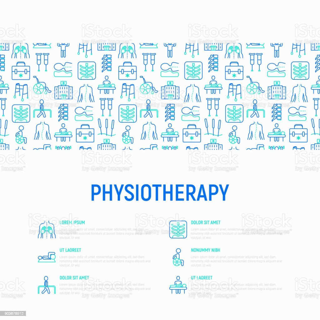 Physiotherapy concept with thin line icons: rehabilitation, physiotherapist, acupuncture, massage, gymnastics, go-carts, vertebrae; x-ray, trauma, crutches. Vector illustration, web page template. vector art illustration