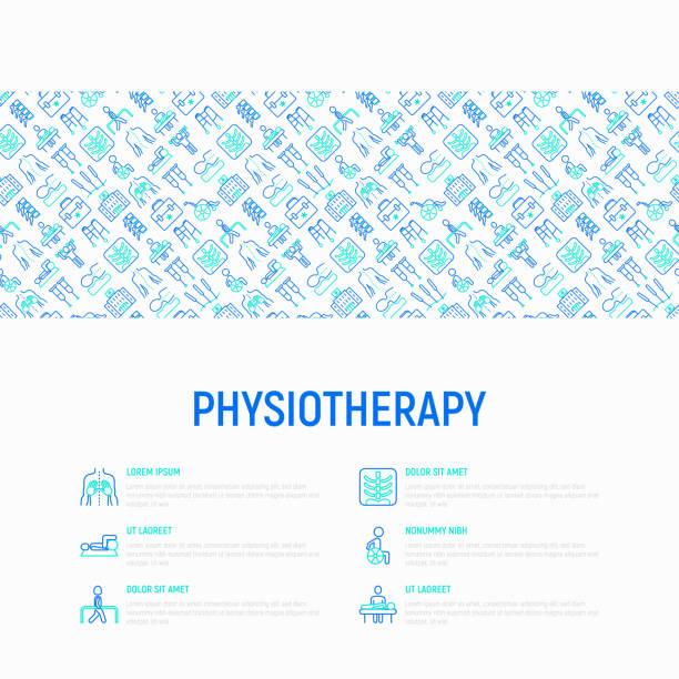 ilustrações, clipart, desenhos animados e ícones de conceito de fisioterapia com ícones de linha fina: reabilitação, fisioterapeuta, acupuntura, massagem, ginástica, karts, vértebras; raio-x, trauma, muletas. ilustração vetorial, modelo de página da web. - ortopedia