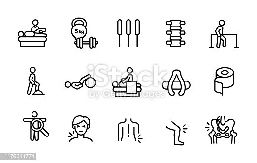 Set of physiotherapy icons for clinic, hospital, medical institution website, infographics or publications