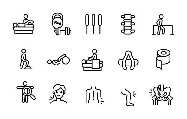 Physiotherapy Icon Set - Pain Causes, Symptoms, Kinesotape, Exercise Equipment and Treatment Set of physiotherapy icons for clinic, hospital, medical institution website, infographics or publications physical therapy stock illustrations