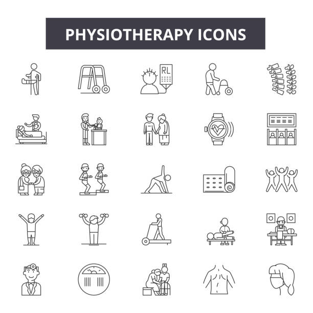 Physiotherapy line icons, signs set, vector. Physiotherapy outline concept, illustration: medical,physiotherapy,health,care,patient,rehabilitation,therapy,massage,treatment Physiotherapy line icons, signs set, vector. Physiotherapy outline concept illustration: medical,physiotherapy,health,care,patient,rehabilitation,therapy,massage,treatment physical therapy stock illustrations
