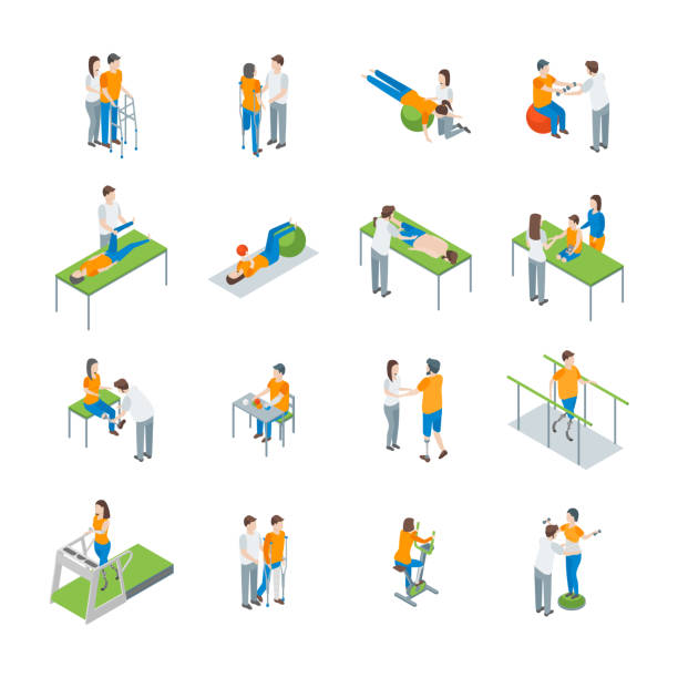 Physiotherapy People 3d Icons Set Isometric View. Vector Physiotherapy People 3d Icons Set Isometric View Include of Exercise Rehabilitation Therapy, Patient, Treatment and Doctor. Vector illustration physical therapy stock illustrations