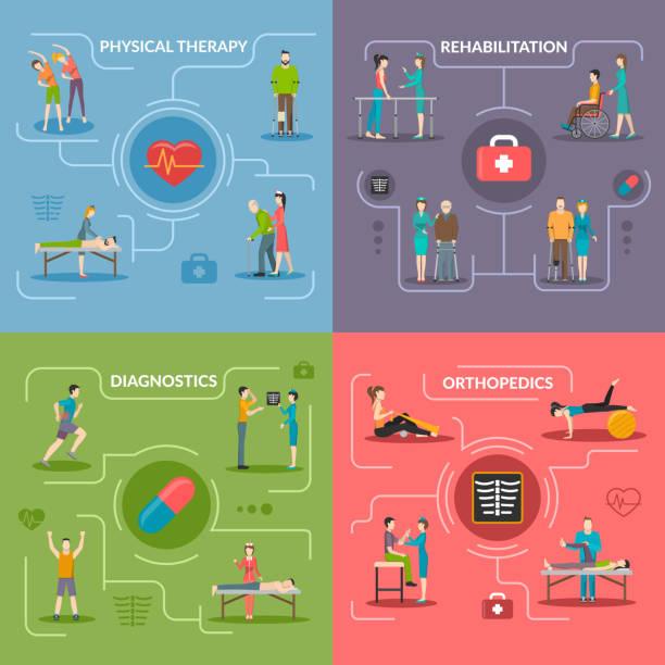 физиотерапия реабилибилизация 2x2 - physical therapy stock illustrations