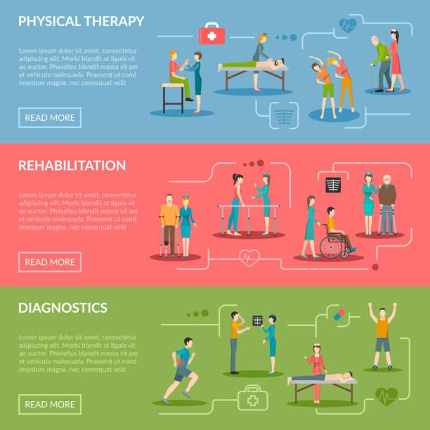 физиотерапия reabilitation баннеры - physical therapy stock illustrations