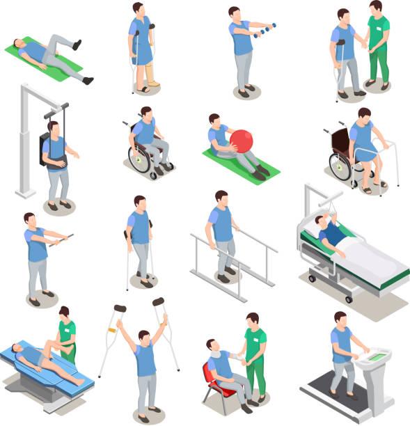 физиотерапия реабилитации иконки изометрические - physical therapy stock illustrations
