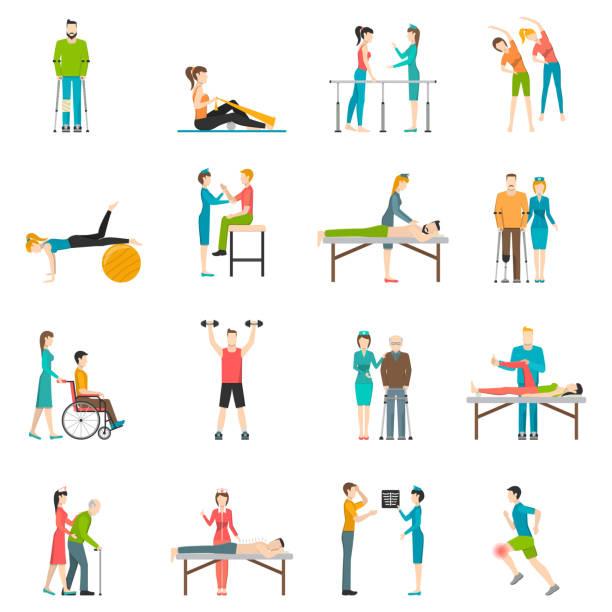 значки физиотерапии реабилитации - physical therapy stock illustrations