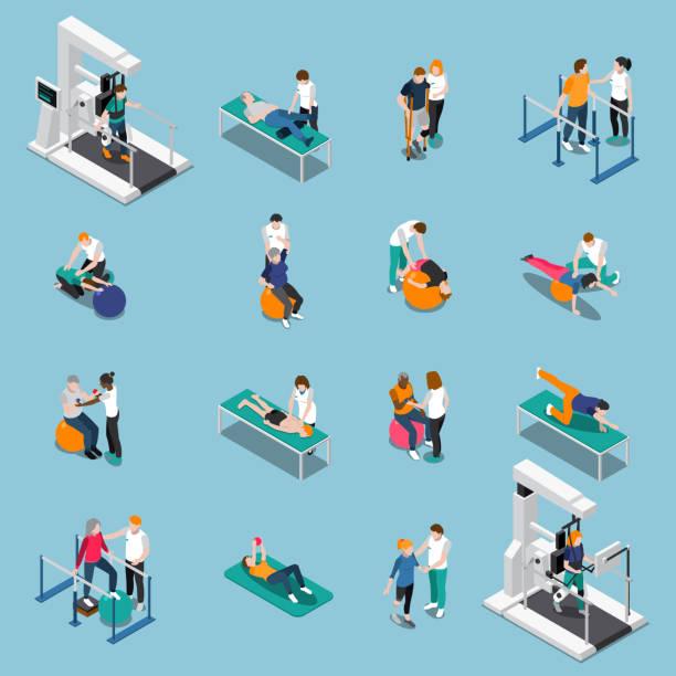 физиотерапия реабилитации изометрических людей - physical therapy stock illustrations