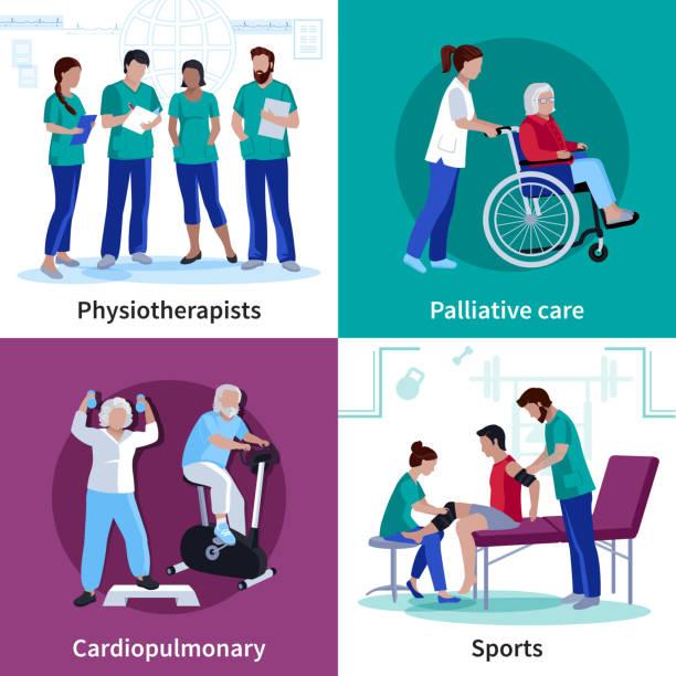 физиотерапия реабилитации людей 2x2 - physical therapy stock illustrations