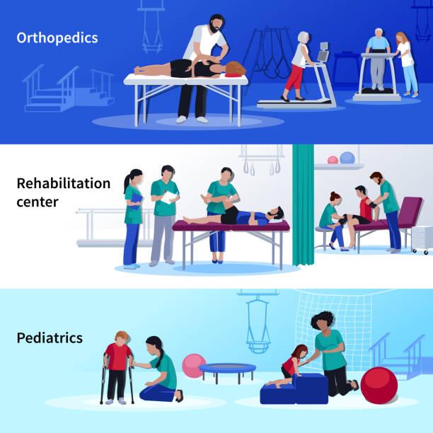 физиотерапия реабилитации людей баннеры - physical therapy stock illustrations