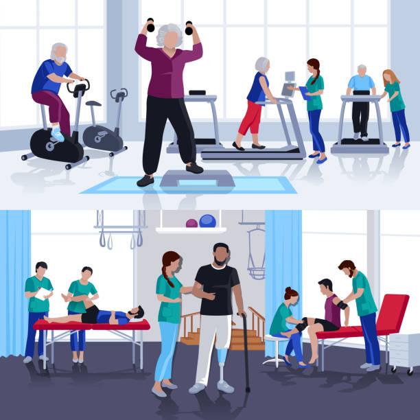 физиотерапия реабилитации людей композиции - physical therapy stock illustrations