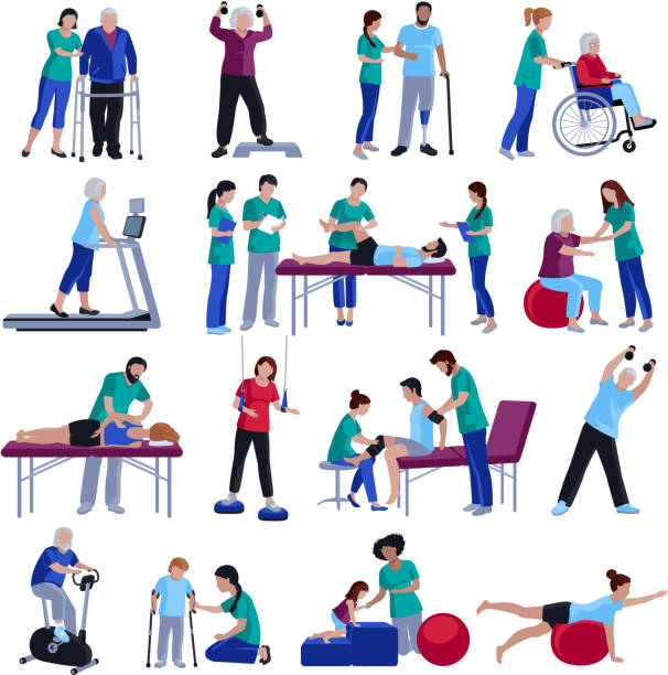 physiotherapy rehabilitation people Physiotherapy rehabilitation sessions for people with cardiovascular geriatric and neurological disorders flat icons collection isolated vector illustration physical therapy stock illustrations