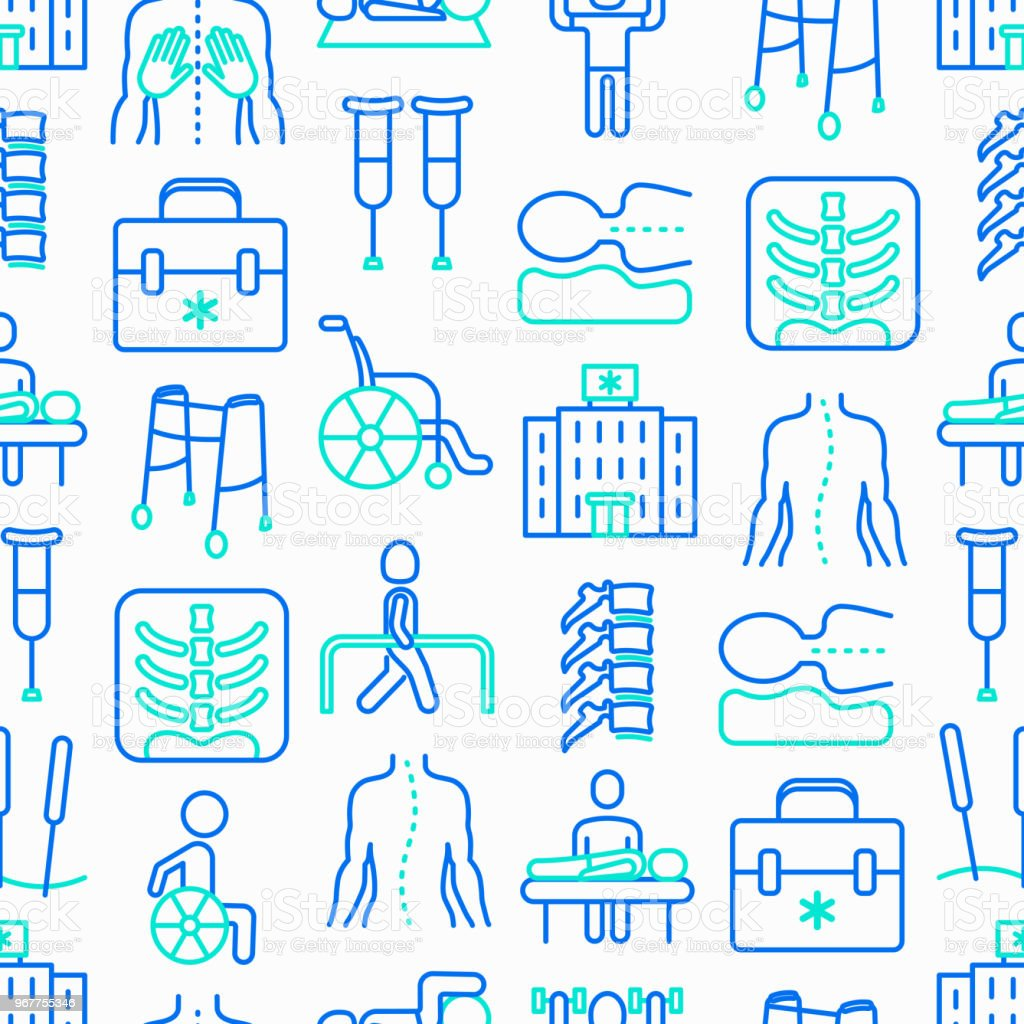Physiotherapy seamless pattern with thin line icons: rehabilitation, physiotherapist, acupuncture, massage, go-carts, vertebrae; x-ray, trauma, crutches, wheelchair. Vector illustration. vector art illustration