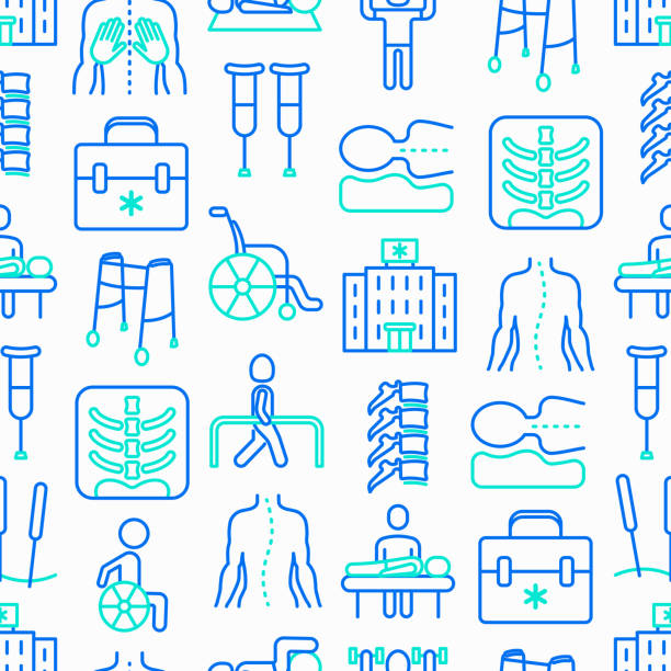 Physiotherapy seamless pattern with thin line icons: rehabilitation, physiotherapist, acupuncture, massage, go-carts, vertebrae; x-ray, trauma, crutches, wheelchair. Vector illustration. Physiotherapy seamless pattern with thin line icons: rehabilitation, physiotherapist, acupuncture, massage, go-carts, vertebrae; x-ray, trauma, crutches, wheelchair. Vector illustration. physical therapy stock illustrations