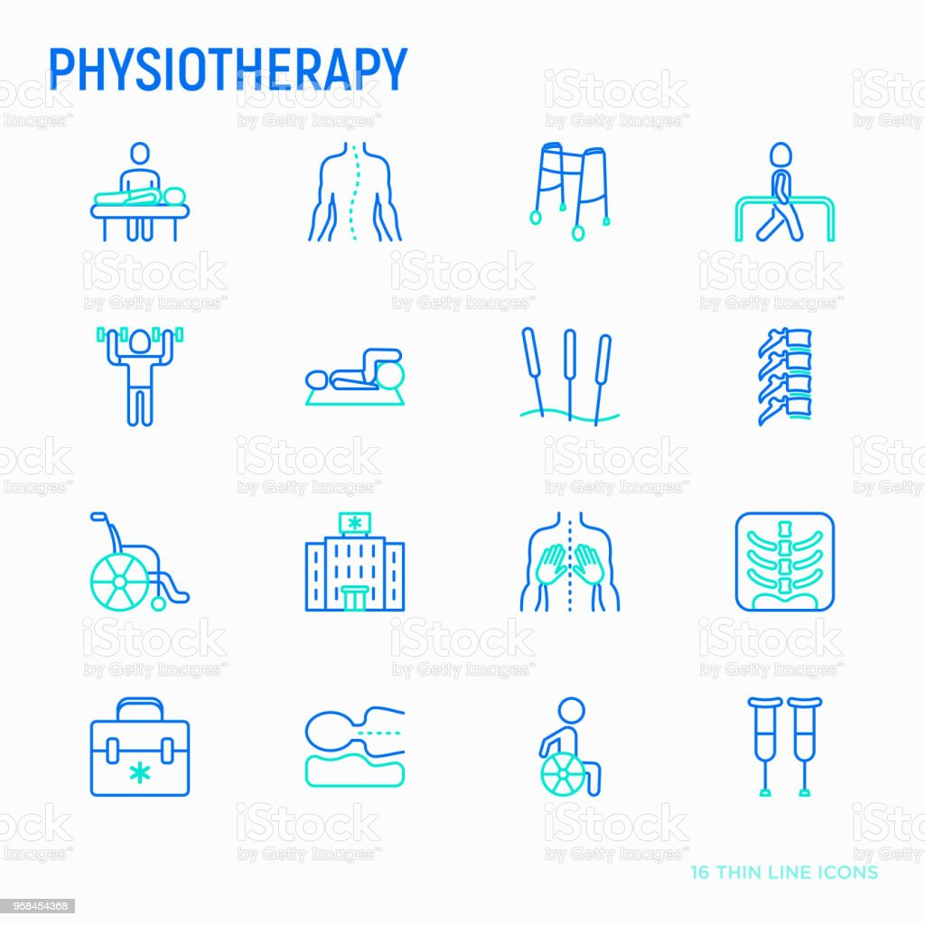 Physiotherapy thin line icons set: rehabilitation, physiotherapist, acupuncture, massage, gymnastics, go-carts, vertebrae; x-ray, trauma, crutches, wheelchair, orthopedic pillow. Vector illustration. vector art illustration
