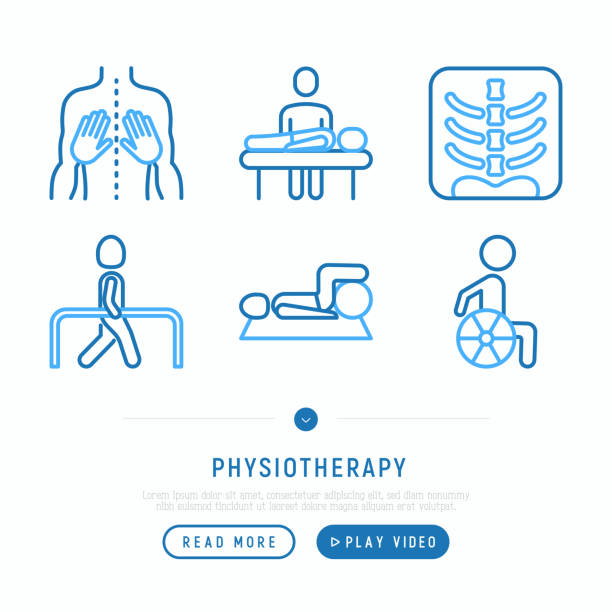 Physiotherapy thin line icons set: rehabilitation, physiotherapist, verterbra, massage, go-carts; wheelchair, trauma. Vector illustration, web page template. Physiotherapy thin line icons set: rehabilitation, physiotherapist, verterbra, massage, go-carts; wheelchair, trauma. Vector illustration, web page template. physical therapy stock illustrations