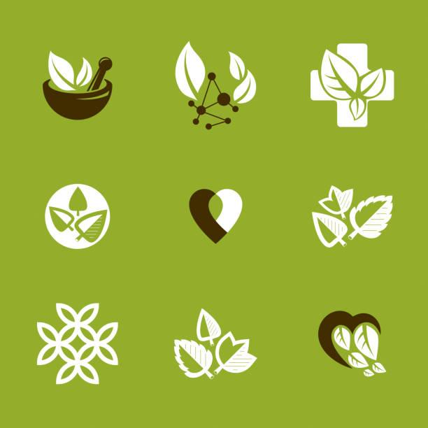 Phytotherapie-Metapher, Vektor Grafik Embleme Sammlung. Vegetarische Lebensweise konzeptionelle Illustrationen. – Vektorgrafik