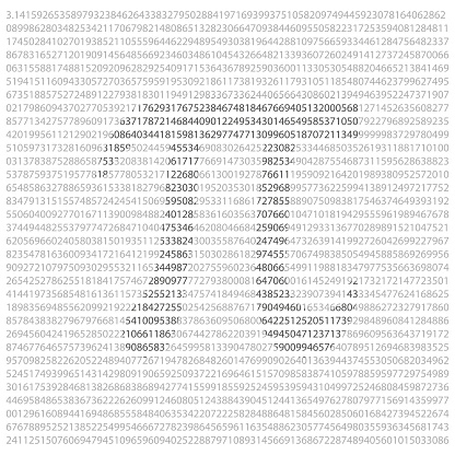 pi 3.14 background with numbers and symbol, vector