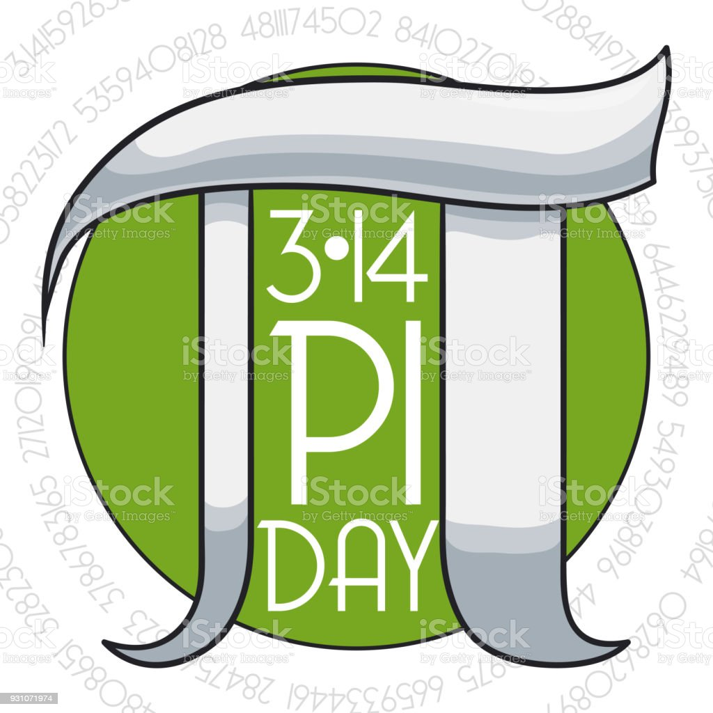 Pi Day Commemoration With Round Button And Silver Symbol Stock
