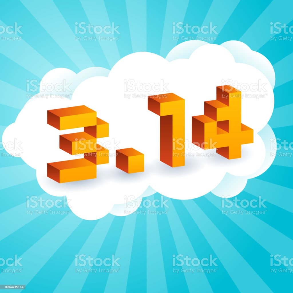 円周率の日古い 8 ビットのビデオゲームのスタイルのテキスト。活気に満ちた 3 D ピクセル文字、コンピューターの画面。数学定数、不合理な複素数、ギリシャ文字。3 月 14 日の抽象的なデ� ベクターアートイラスト