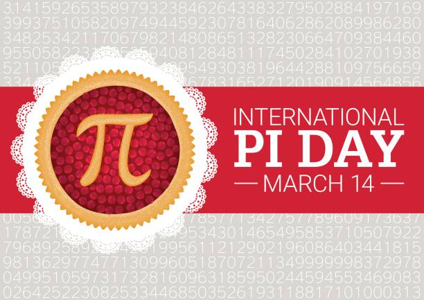 pi day vector background. baked cherry pie with pi symbol and ribbon. mathematical constant, irrational number - pie stock illustrations, clip art, cartoons, & icons