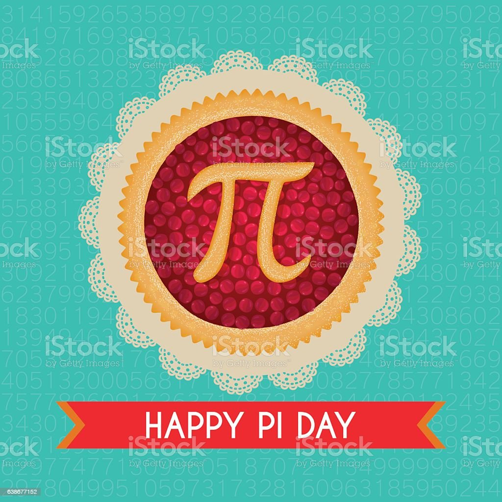 Pi Day vector background. Baked cherry pie with Pi Symbol vector art illustration