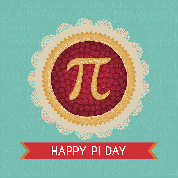 pi day vector background. baked cherry pie with pi symbol - nadziewany placek stock illustrations