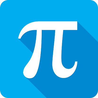 Vector illustration of a blue Pi icon in flat style.