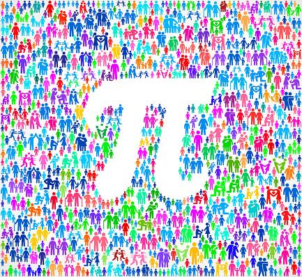 Pi Symbol on vector family pattern Background