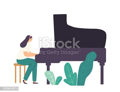 istock Pianist Girl Character Playing Musical Composition on Grand Piano for Symphonic Orchestra or Opera Performance on Stage 1325816374