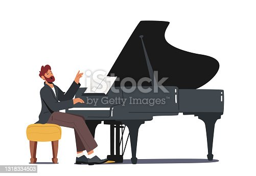 istock Pianist in Concert Costume Playing Musical Composition on Grand Piano for Symphonic Orchestra or Opera Performance 1318334503