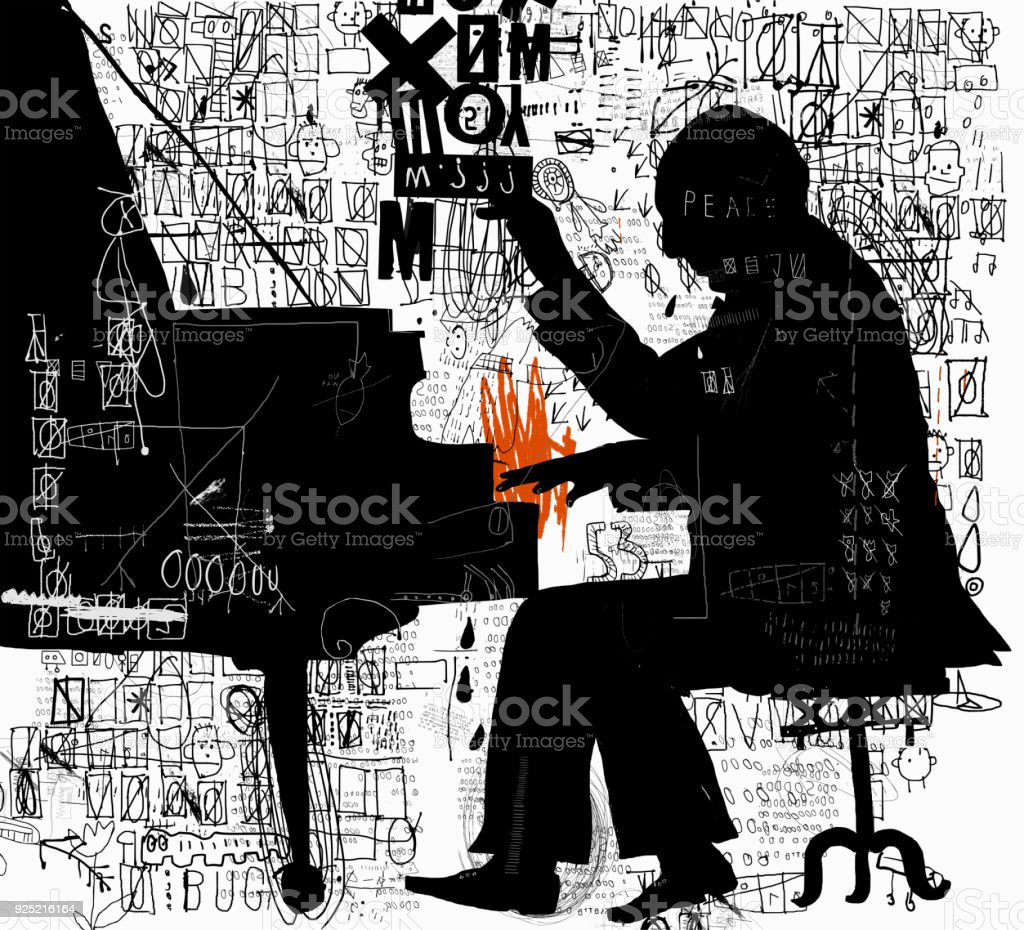 Pianist vector art illustration