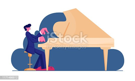 Pianist Wearing Concert Costume Playing Musical Composition on Grand Piano for Symphonic Orchestra or Opera Performance on Stage. Talented Artist Performing on Scene. Cartoon Flat Vector Illustration
