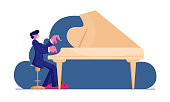 istock Pianist Wearing Concert Costume Playing Musical Composition on Grand Piano for Symphonic Orchestra or Opera Performance on Stage. Talented Artist Performing on Scene. Cartoon Flat Vector Illustration 1171495512
