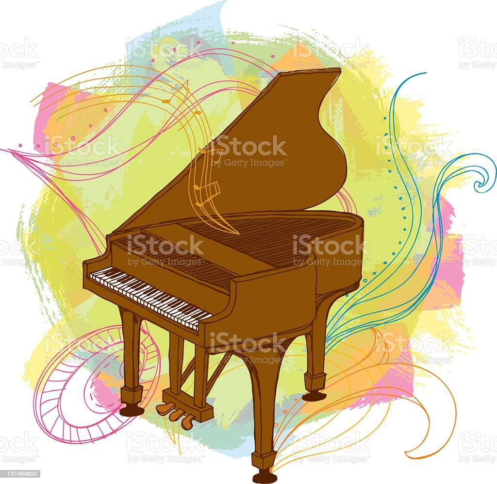 Piano and doodles royalty-free stock vector art