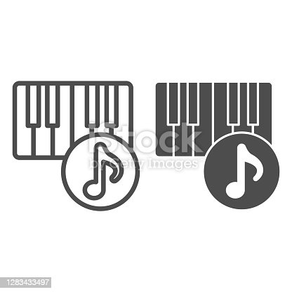 istock Piano and musical note line and solid icon, Sound design concept, musical instrument sign on white background, Piano keyboard and note icon in outline style for mobile and web design. Vector graphics. 1283433497