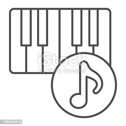 istock Piano and musical note thin line icon, Sound design concept, musical instrument sign on white background, Piano keyboard and note icon in outline style for mobile and web design. Vector graphics. 1283434519