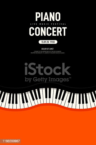 Piano concert and music festival poster modern vintage retro style. Graphic design template can be used for background, backdrop, banner, brochure, leaflet, publication, vector illustration