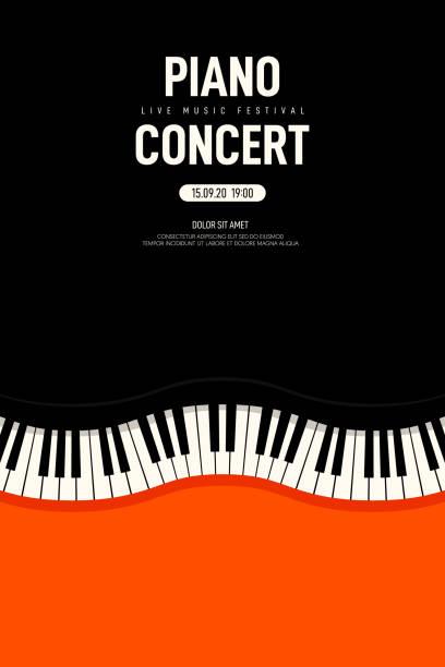 piyano konser ve müzik festivali afiş modern vintage retro tarzı - piano stock illustrations
