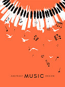 Piano concert poster. Music conceptual illustration. Abstract style coral background with hand drawn piano keyboard and flying notes and birds.