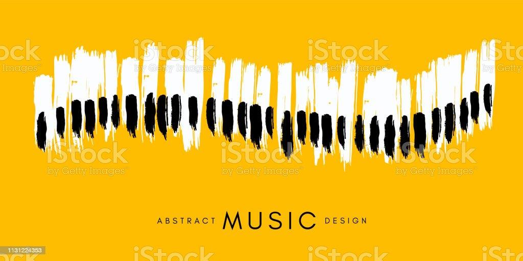 Cartel de concierto de piano. Ilustración conceptual de la música. Fondo amarillo de estilo abstracto con teclado de piano dibujado a mano. ilustración de cartel de concierto de piano ilustración conceptual de la música fondo amarillo de estilo abstracto con teclado de piano dibujado a mano y más vectores libres de derechos de abstracto libre de derechos